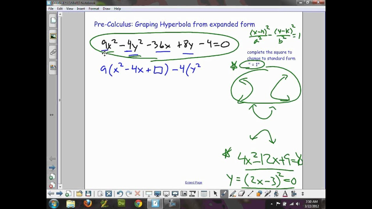 Pre calculus graphing hyperbola from expanded form youtube falaconquin