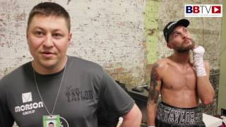 Liam Taylor and coach Steve Maylett after 4th round stoppage victory