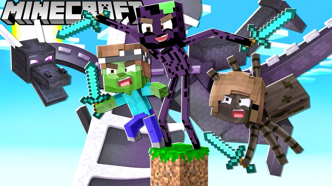 Wir sind MONSTER und KÄMPFEN gegen ENDERDRACHEN auf 1 Block in Minecraft!