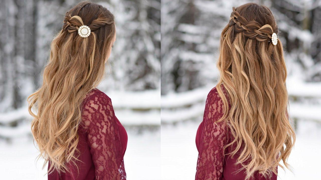 4 Strand Waterfall Half Up Hairstyle Cute Girls