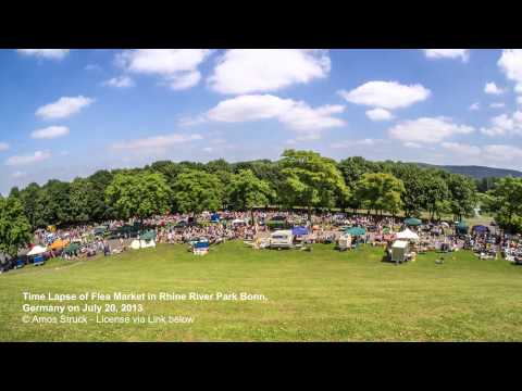 Time Lapse of Flea Market in Rhine River Park Bonn, Germany