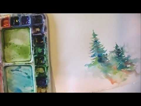 How To Paint Lively Pine Trees In Watercolor YouTube