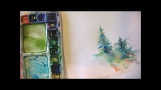 How to Paint Lively Pine Trees in Watercolor