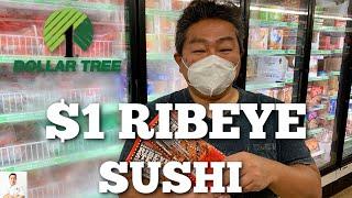 $1 Ribeye Steak Sushi Rolls | Dollar Tree Bought Products
