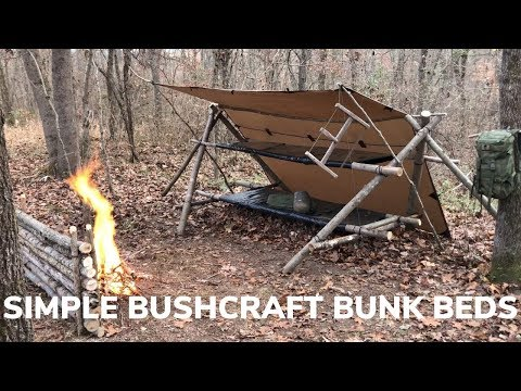 Solo Overnight Shelter Build - Bushcraft Bunk Beds