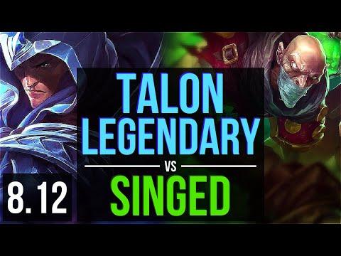 TALON vs SINGED (TOP) ~ Legendary, KDA 21/4/9 ~ Korea Diamond ~ Patch 8.12