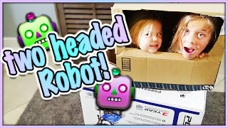 two headed cardboard robot what is our good deed for the day smelly belly tv vlogs
