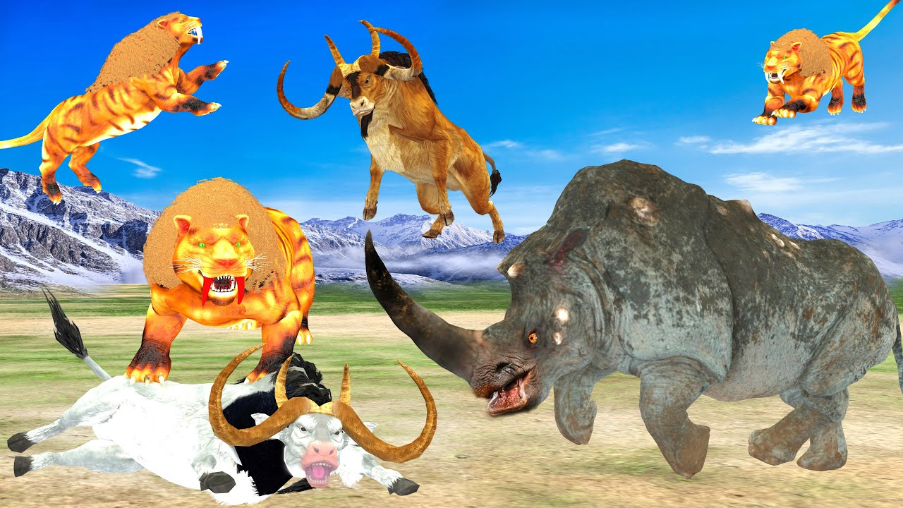 Woolly Rhino Vs Saber Tooth Tiger Fight Giant Bulls Saber Tooth Cat Vs Woolly Rhinoceros Animal Epic
