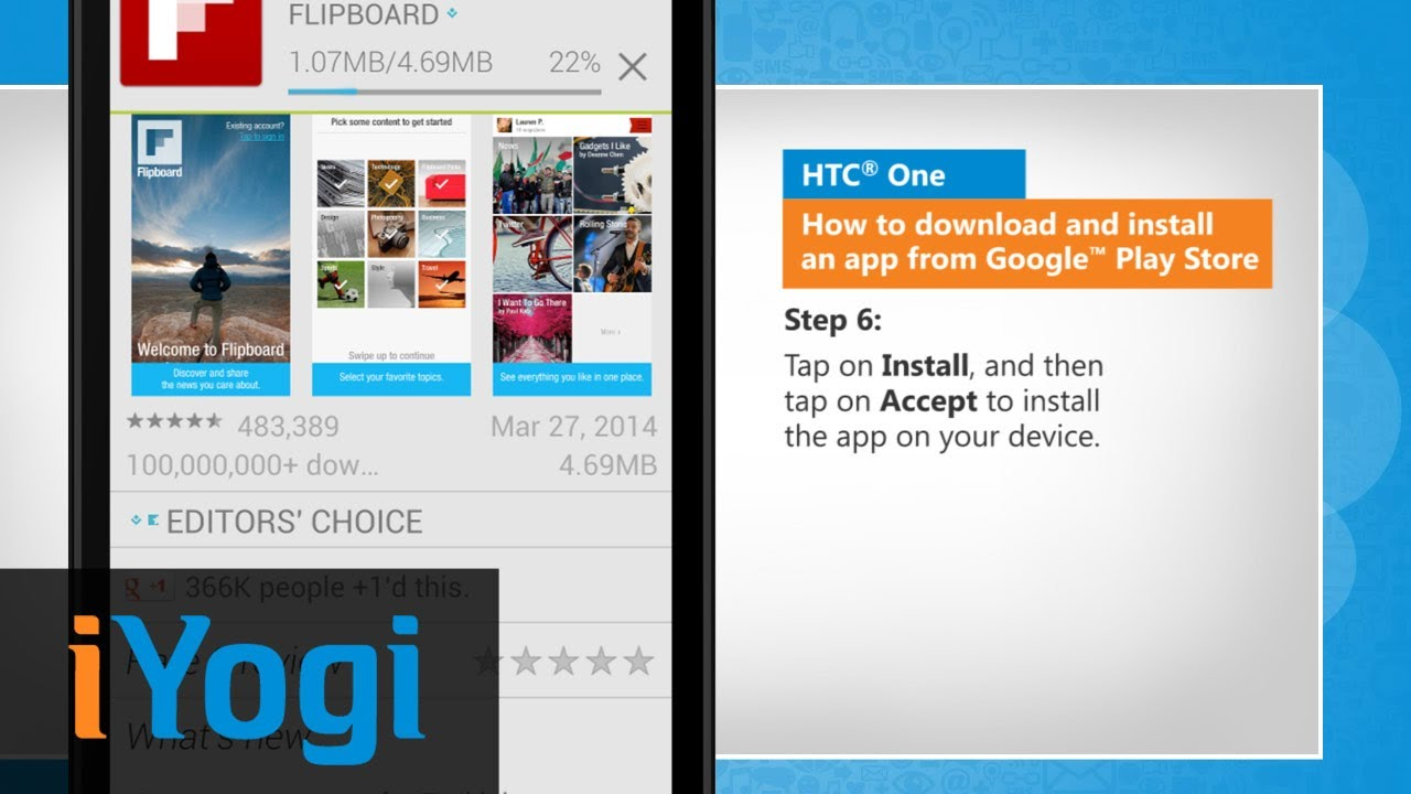 How to Download and Install an App from Google™ Play Store on HTC® One - YouTube