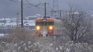 降雪の中を走行する、しなの鉄道115系&北陸新幹線。