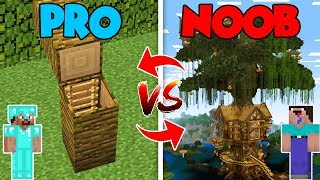 Minecraft NOOB vs. PRO : NOOB BUILDS TREE HOUSE in Minecraft (Compilation)