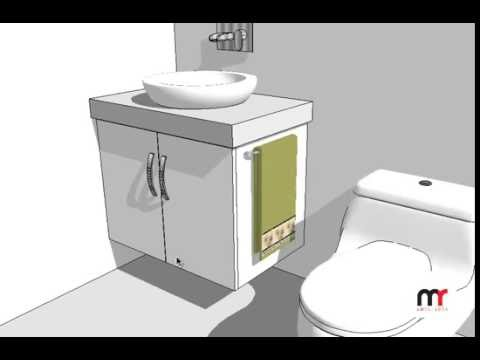 Mueble de ba o flotante para lavamanos en melamina for Herrajes para muebles de bano