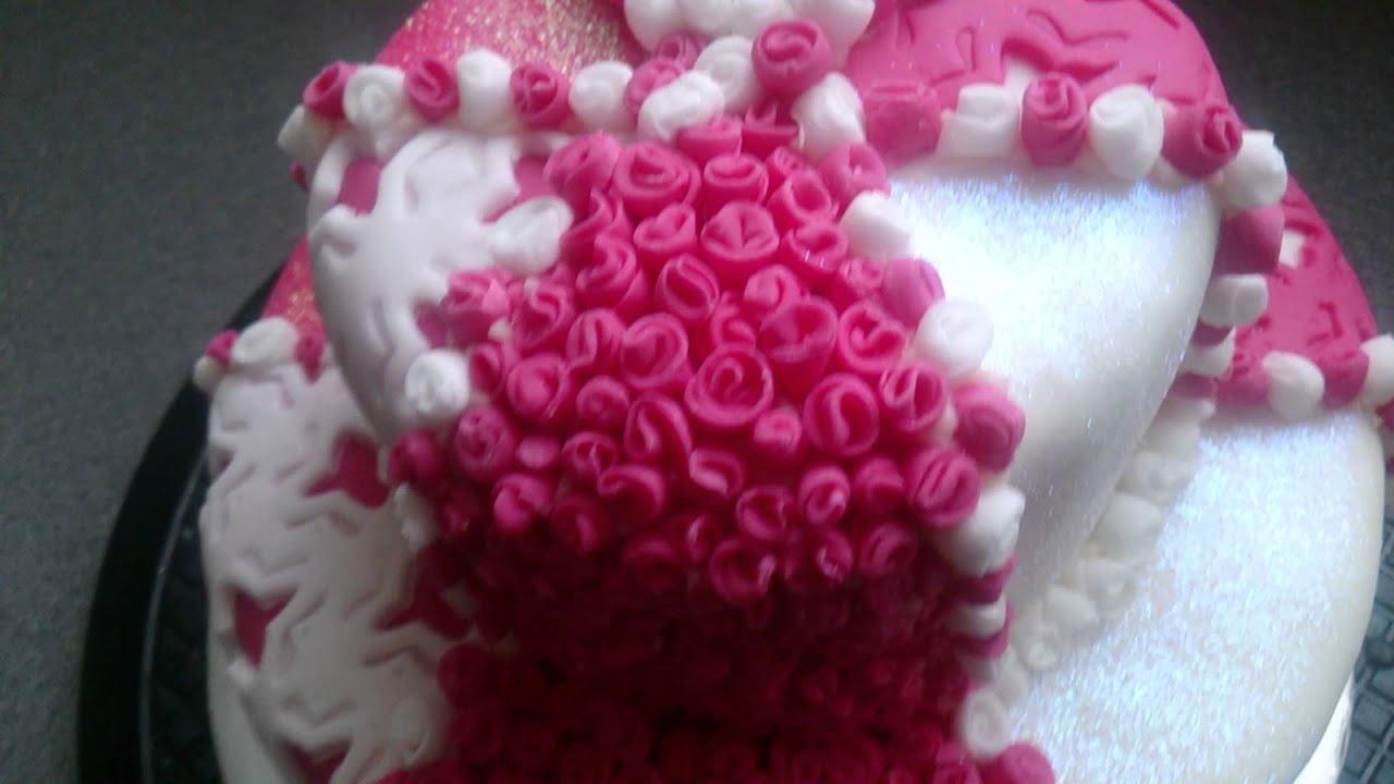 Pink Rose 21st Birthday Cake Youtube