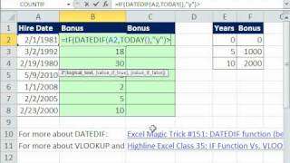 Excel Magic Trick 601: VLOOKUP & IF functions for Bonus Based On Years Worked