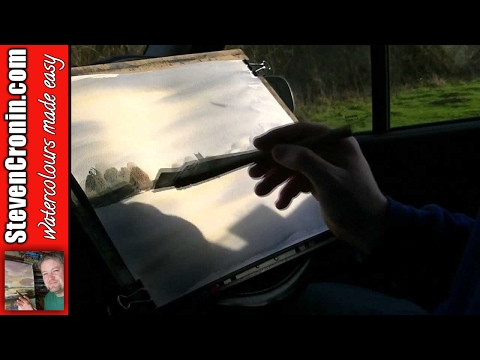Watercolour Painting in the Car at Bodymoor Heath Water, Kingsbury Part 3