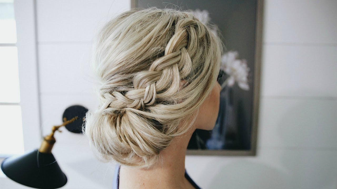 Fancy Braided Bun Updo Simple Steps Youtube Hair Styles Braided Bun Hairstyles Easy Bun Hairstyles