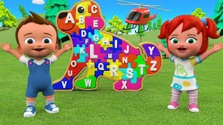 ABC Songs for Children | Little Babies Fun Play Learning Alphabets with Dog Puppy Puzzle Toy Set 3D
