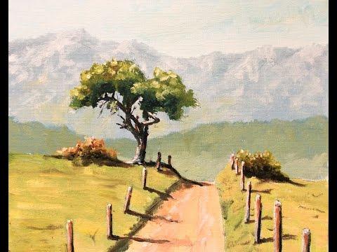 Malen mit Acryl: Baum Bergpanorama (Teil 1/2)