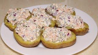 Картошка по праздничному с рыбой и маринованными огурцами Стоит попробовать