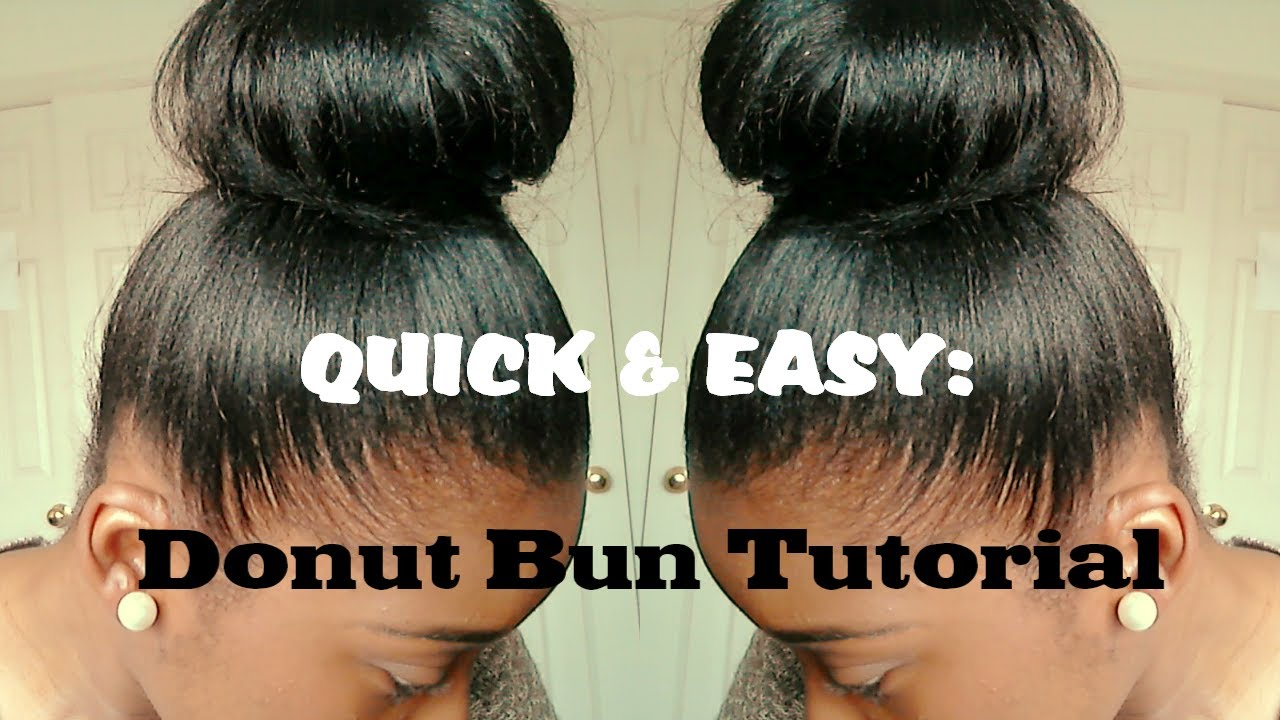 Easy Hairstyles For Medium Black Relaxed Hair : Hair tutorial high bun for relaxed quick and easy