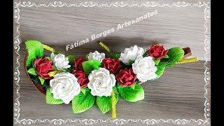 Como Fazer Decoração com Rosas em Eva na Palha de Côco