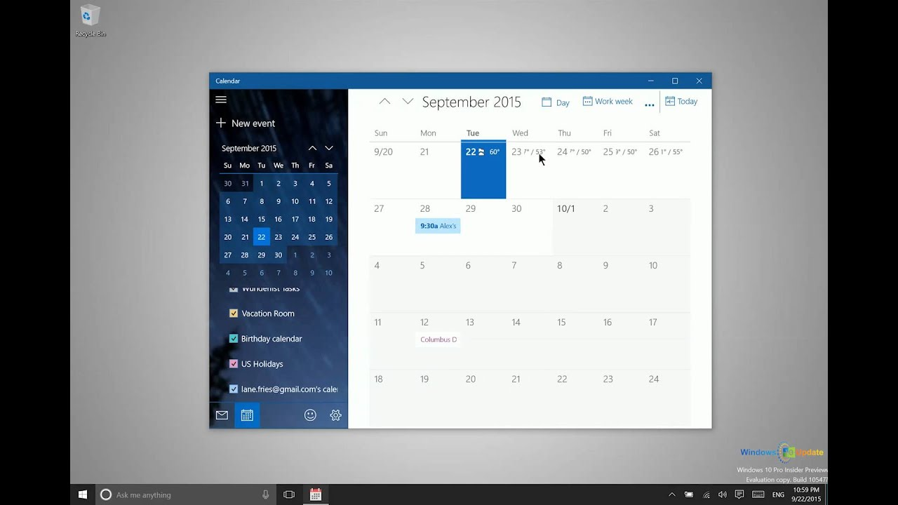 Using the Calendar in Windows 10
