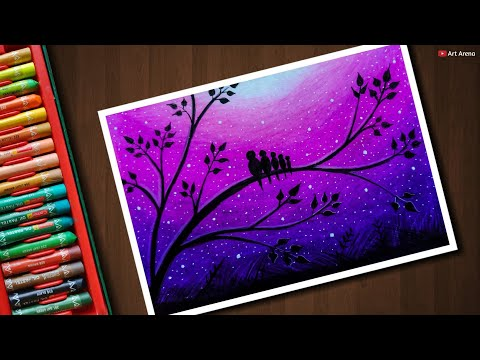 Love Birds scenery drawing for beginners with Oil Pastels - step by step
