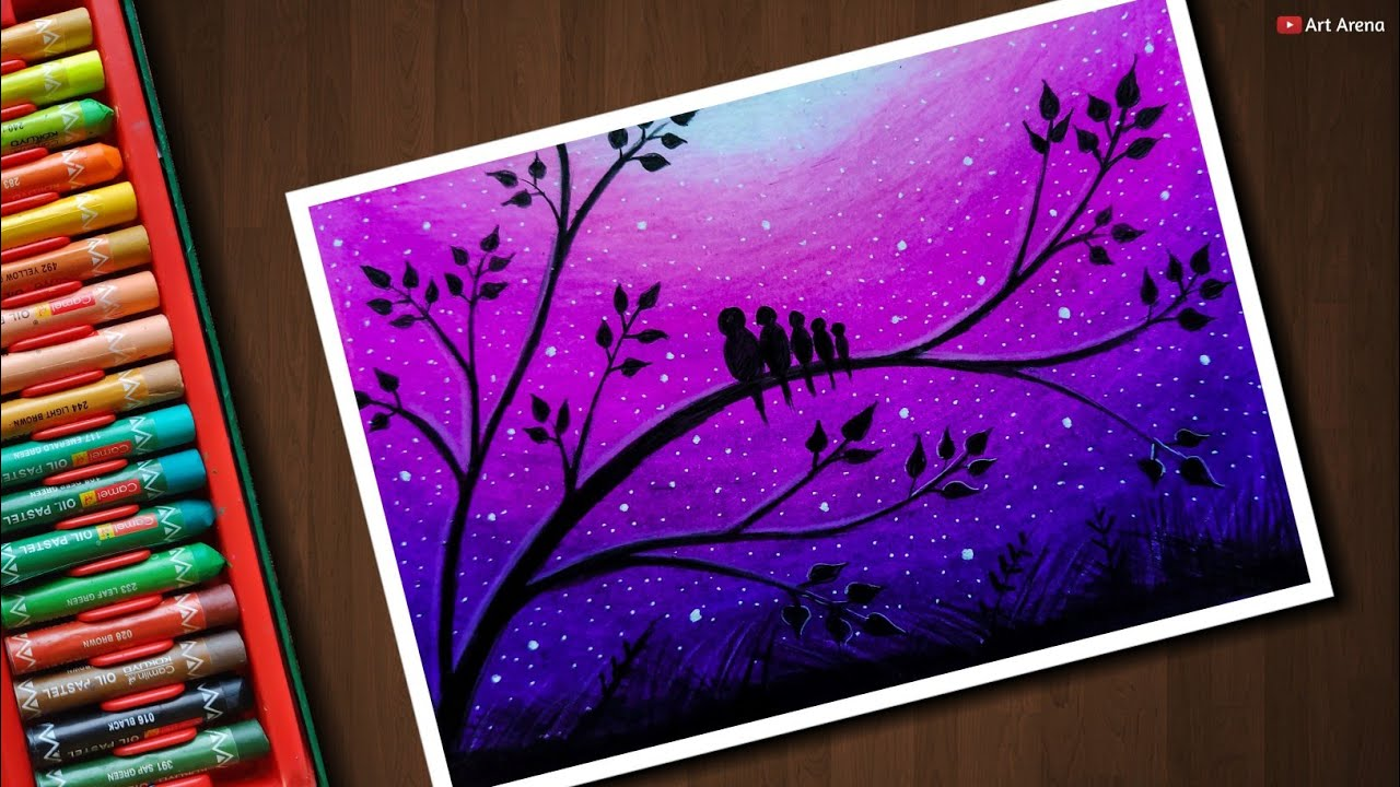Love Birds Scenery Drawing For Beginners With Oil Pastels