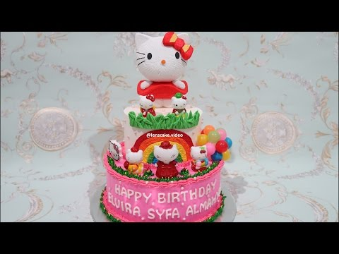 How to Make Birthday Cake Hello Kitty 2 Layers - Cara Membuat Kue Ulang Tahun Hello Kitty Bertingkat
