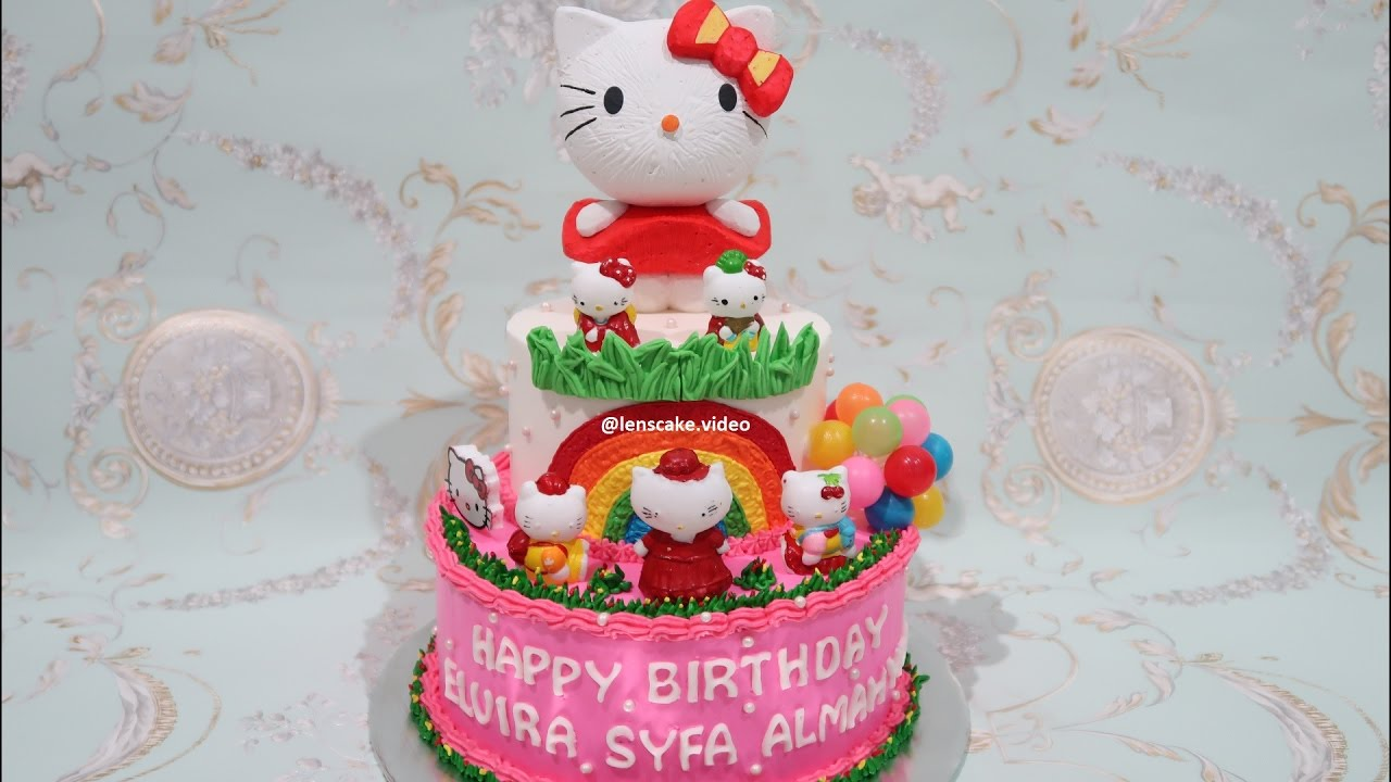 How To Make Birthday Cake Hello Kitty 2 Layers Cara