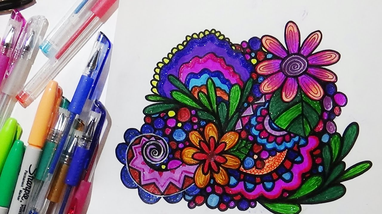 Flower and Leaf Doodle with Glitter Gel Pens and Sharpie ...
