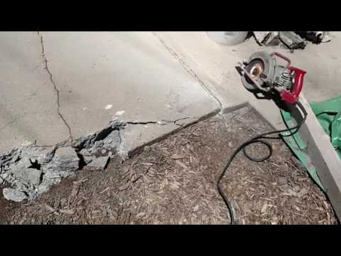 Removing a concrete patio in the back yard - YouTube