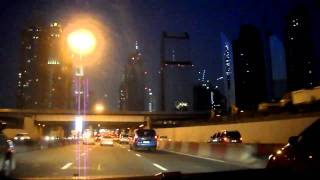 Driving Through Dubai Sheikh Zayed Road At Night