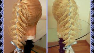 Микс из кос: Коса ажурная и коса пятипрядная с двумя лентами. Видео-урок.