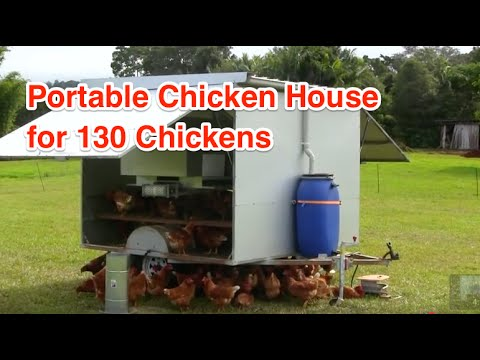 Portable chicken house for 130 chickens youtube for Portable hen house