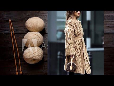 Шикарное вязаное пальто для женщин от diy с косами и жгутами спицами