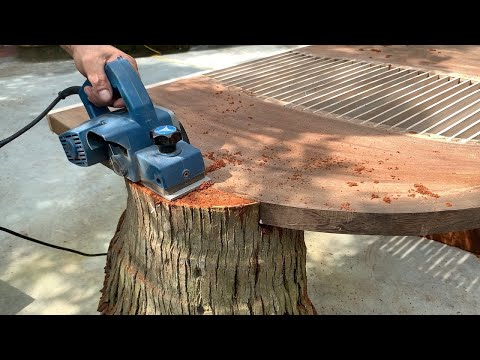 Great New Level Craft Wood Recycling Project // A Unique Table That Is Extremely Sturdy From A Stump