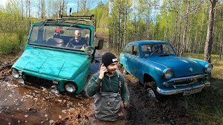 Москвич-410Н 4x4, ЛуАЗ на квадро-резине и Турбо-Трактор в болоте!