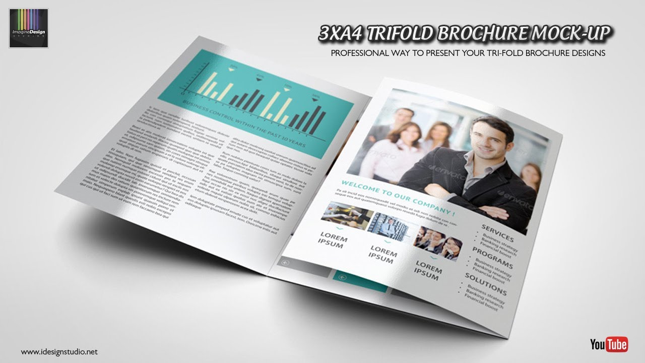 photoshop 3xa4 trifold brochure mock up