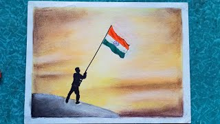 Independence day drawing scenery very easy with soft pastel | Kargil vijay diwas colour drawing