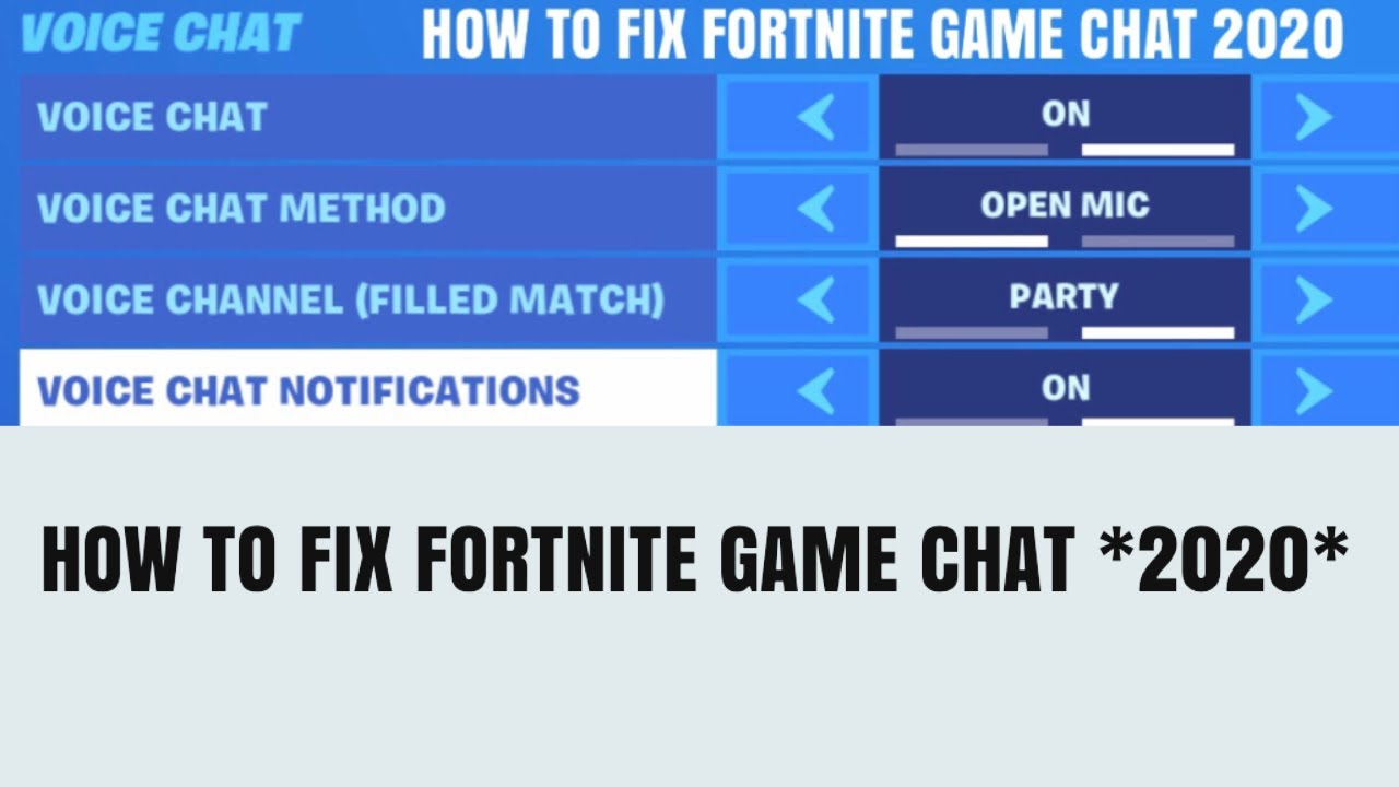 Fortnite game chat not working *FIX* HOW TO FIX FORTNITE ...