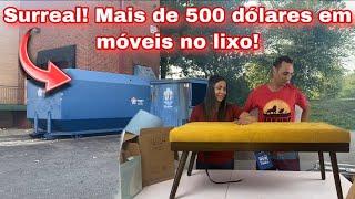 SURREAL! MAIS DE 500 DÓLARES EM MÓVEIS NO LIXO DOS ESTADOS UNIDOS!🇺🇸🇺🇸🇺🇸 Dumpster-basura