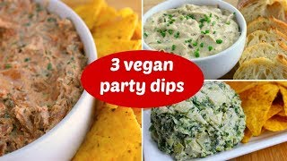 3 Vegan Party Dip Recipes for Game Day // Healthy Super Bowl Snacks