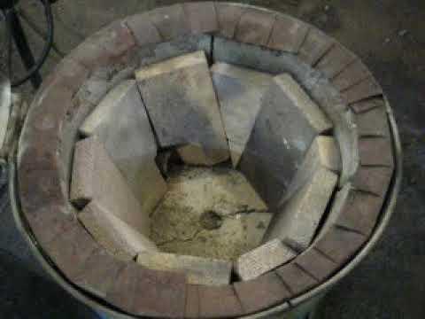 Homemade foundry metal casting furnace walk around DIY concrete and firebrick