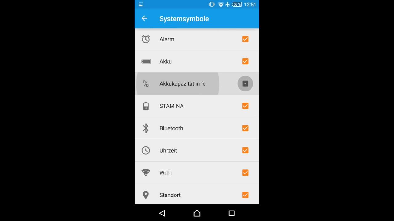 Sony Xperia - Statusleisten Symbole [Akku in Prozent] einschalten ...