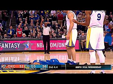 Zaza Pachulia flagrant foul Russell Westbrook & stands over him (warriors okc thunder 1.18.17)