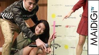 田中道子、パターゴルフに挑戦 ノブコブ吉村がアドバイス? ゴルフウェアショップ「the HOUSE」新作発表会2