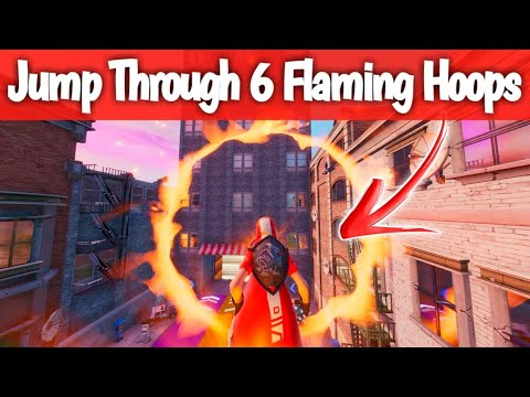 Jump Through All 6 Flaming Hoops Guide - Fortnite LOCATION   Fortnite Jump Through 6 Flaming Hoops