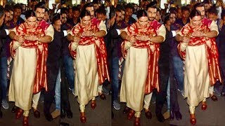 Ranveer Singh Shows LOVE & Care For Wife Deepika Padukone By Protecting From FANS & Media At Airport