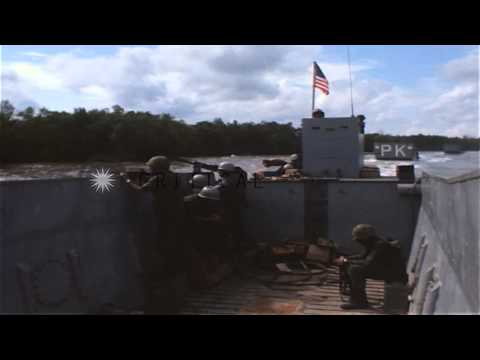 US Marines look for snipers during Operation Jackstay in Vietnam. HD Stock Footage